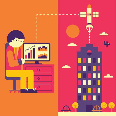 A person sends a file through the internet towards his office Ilustração