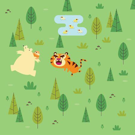 Illustration cartoon for kids bear running away from tiger in the woods Ilustração