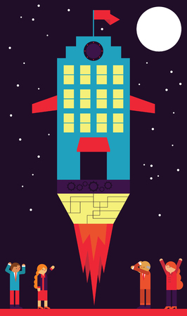 A group of businesspeople celebrate a corporate building takes off Illustration