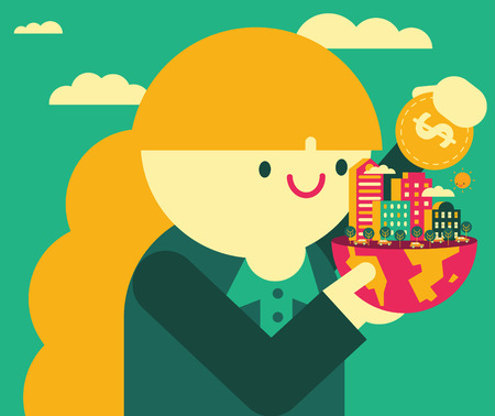 The businesswoman holds a globe with the city on top as she puts a coin into it