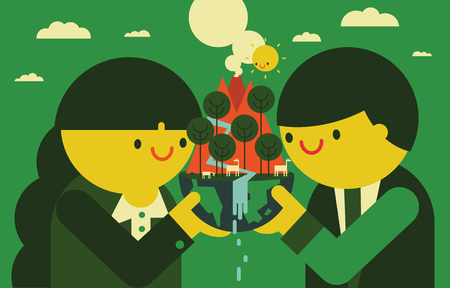 stakeholder: A businessman and a businesswoman hold a globe with nature in their hands