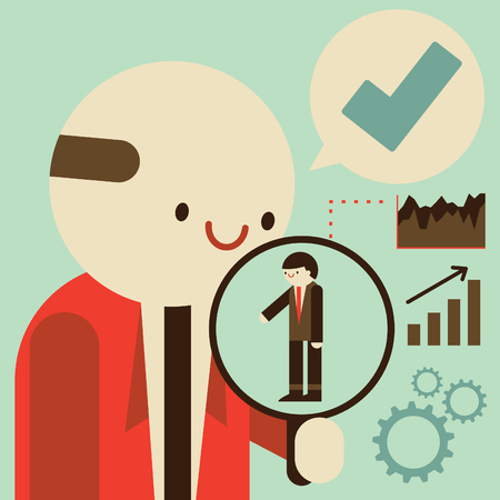 A businessman watches an employee through a magnifying glass and is satisfied by his performance Vetores
