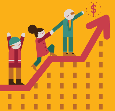 A team of three people, a businessman a businesswoman and a worker, climb towards a coin