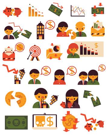 slump: Twenty Five Items Economic Crisis Problem Vector Flat Business Finance Icon isolated images presentation white background