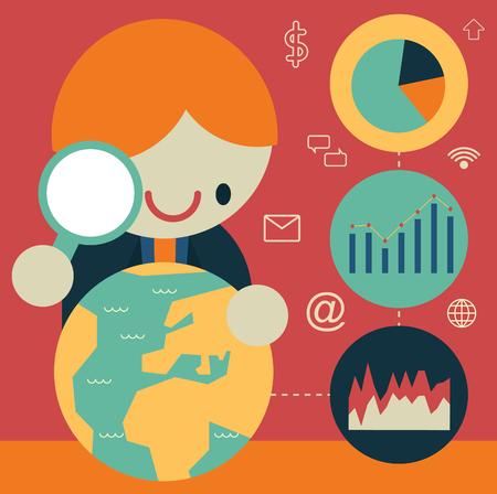 Economist analyseert een globe met een vergrootglas en een aantal conclusies bereikt