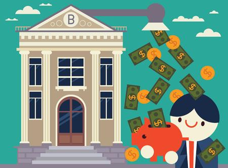 Bank geeft biljetten en munten aan een persoon die een spaarpot heeft Stock Illustratie