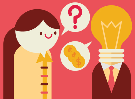 business pitch: Businesswoman asks a question to a businessman with a lightbulb for a head Illustration