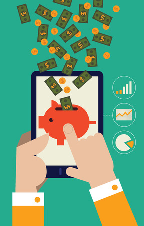 businessperson: Money and coins falling from the sky into a piggy bank being held by a tablet
