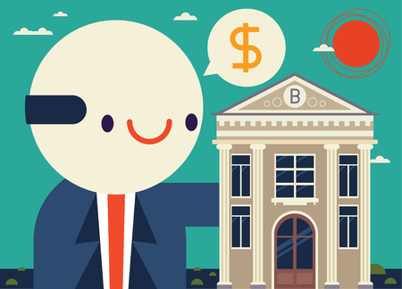 Smiling Manager holds a bank while speaking a financial thing Illustration