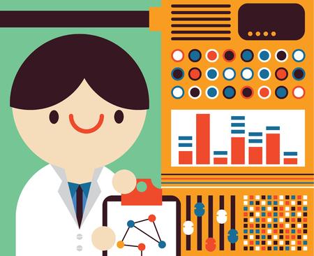 Scientist looks at his machine