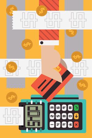 A hand going through a bunch of receipts puts a credit card on a terminal payment Ilustração