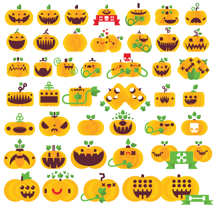 Forty Two Icons Vector Simple Flat Halloween Pumpkin Holiday Scary Kids Illustration