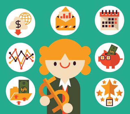 profit celebration: Businesswoman Entrepreneur Smiling and Holding a Money Symbol on her hands