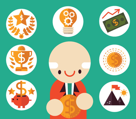 Executive with coin smiles as he is surrounded by flat vector business icons about wealth, money and success