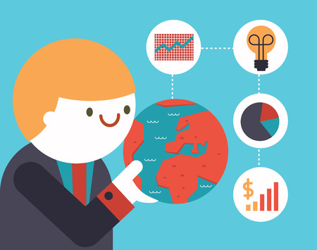 A businessman holds a globe in His hand and a bunch of icons come out of it Illustration