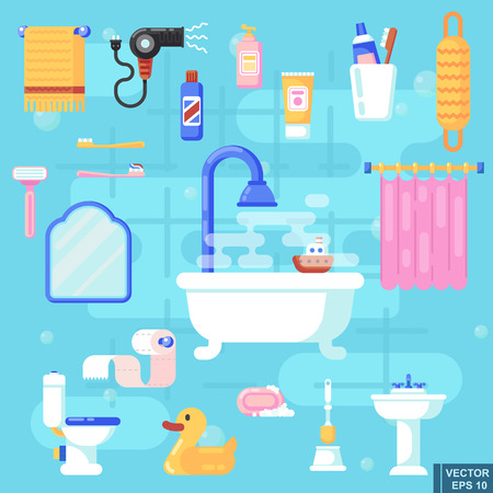 Set flat icons of bath and toilet isolated Elements for bathroom interior Vector illustration