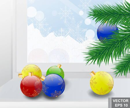 Christmas decorations. Branch. Merry Christmas and a Happy New Year. Winter. Snowing. Illustration
