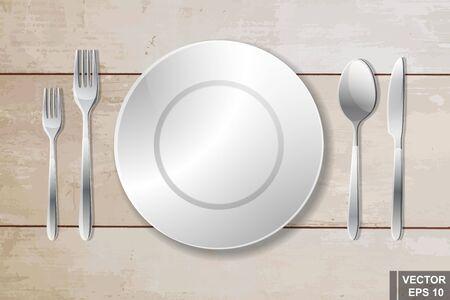 spoon fork: Cutlery. Spoon, fork, knife and plate. Serving. Preparing for dinner. Realistic.