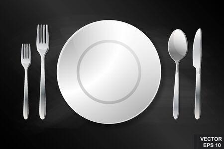 Coutellerie. Cuillère, fourchette, couteau et plaque. Portion. Préparation pour le dîner. Réaliste.