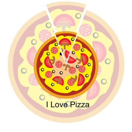 I love pizza. Icon. Tasty food. Italian Cuisine. For your design.