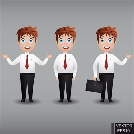 Realistic people. Set. Young guy. Businessman. For your design. Illustration