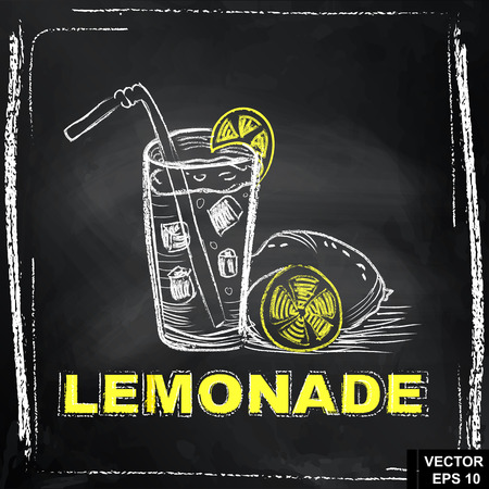 sour: Lemon. Drawing with chalk on the blackboard. Lemonade. Sour fruit. For your design.