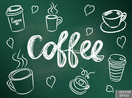 invigorating: A set of cups for coffee on a chalkboard. Morning invigorating drink Illustration