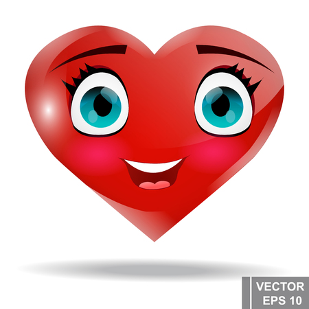 Cute cartoon red heart. Valentines Day. Isolated on white background. Illustration