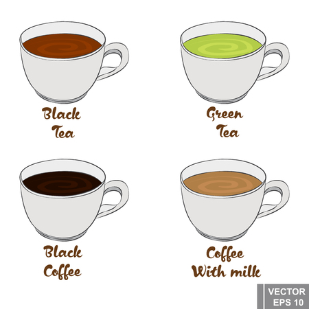 Cup. Set cartoon. Black and green tea. And black coffee with milk. Hot refreshing drinks.