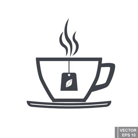 silhouette contour: cup contour. Silhouette. The black. Icon. Flat style. Illustration