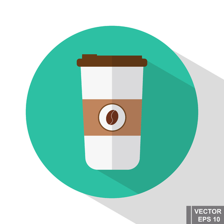 Plastic cup of coffee. Flat style. The invigorating drink. Icon.