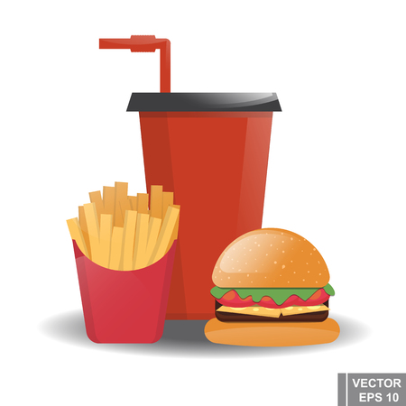 Food. Cheeseburger. Cola. French fries. Fast food Illustration