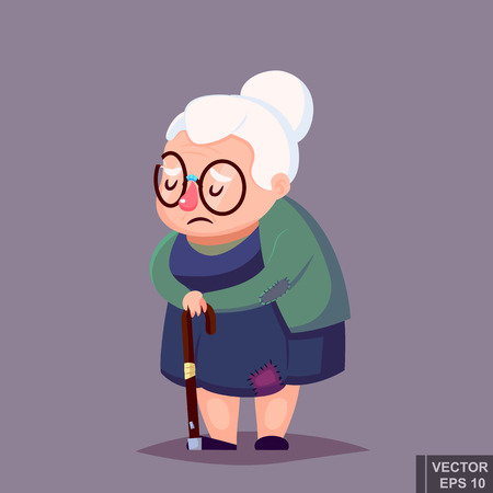 infirmity: poor old woman in old clothes with cane and glasses