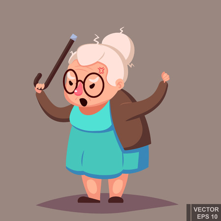 enraged: Angry Old Woman Brandishing Her Cane. Senior lady with glasses shouting