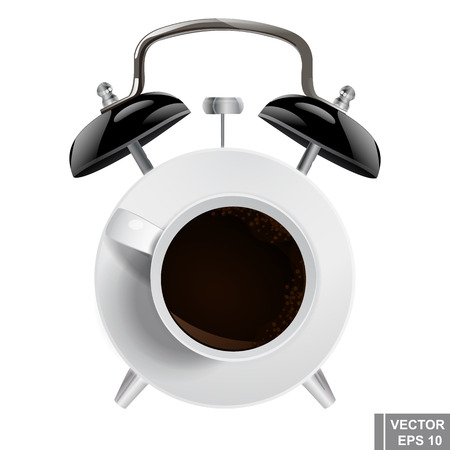 Alarm clock. Cup of coffee. Morning. Time. For your design. Illustration