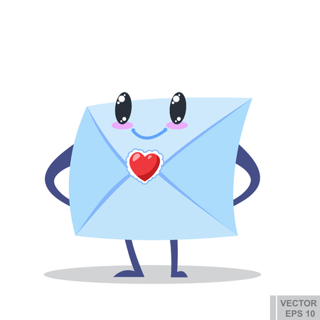 cartoon image of cute envelope with eyes, arms and legs standing on a white background. Love letter. Icon e-mail illustration. Valentines day Vector illustration eps10