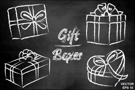 Gift box. Chalk board. Icon. Set. Congratulation.