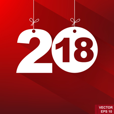 New Year. 2018. The figures isolated on red background. Celebration. The calendar.
