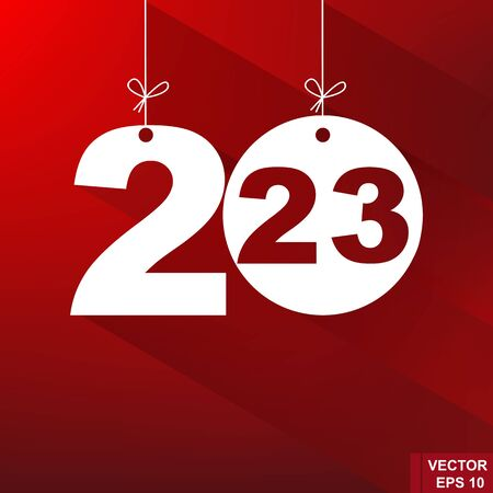 New Year. 2023. The figures isolated on red background. Celebration. The calendar. Illustration