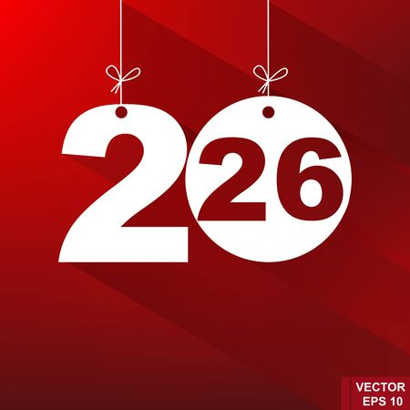 New Year. 2026. The figures isolated on red background. Celebration. The calendar. Illustration