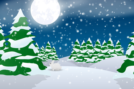 Winter forest. Night landscape. Cartoon. Snow-covered trees. Christmas and New Year.
