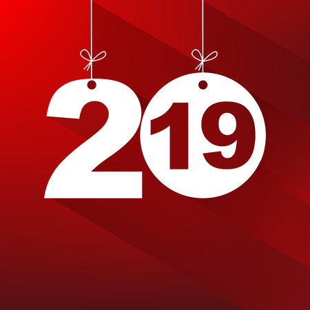 New Year. 2019. The figures isolated on red background. Celebration. The calendar. Stock Photo