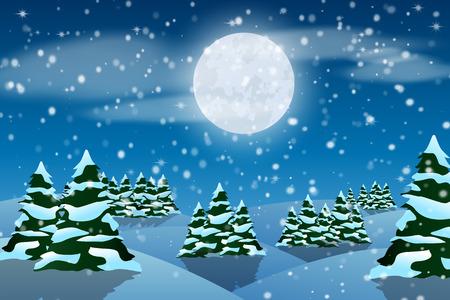 Winterlandschaft. Schneien. Neujahr. Wald. Schneebedeckte Bäume. Standard-Bild