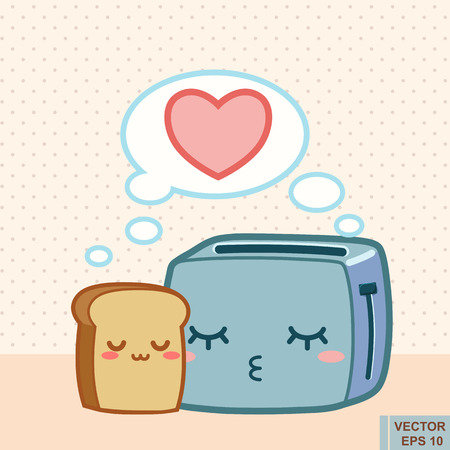 toasted bread: Toaster and funny toasted bread. Vector cartoon. Love forever. Cute kawaii comic characters.