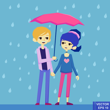 admire: Boy and girl dating under the rain
