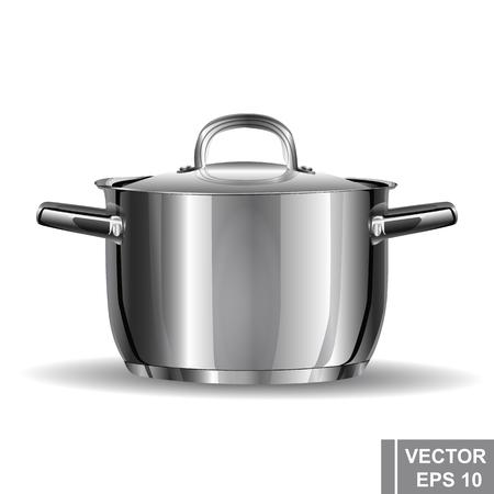 food preparation: Metal pan realistic. Preparation wholesome food. Cooking. Kitchen tools.