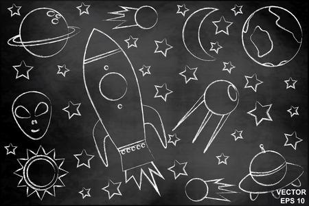 Children set space. Of blue color. On the chalkboard. Planets. Rocket.