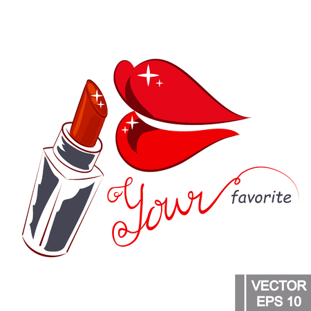 Vector isolated illustration of lips with lipstick and hand lettering on white background. element for logo, print, poster, etc.