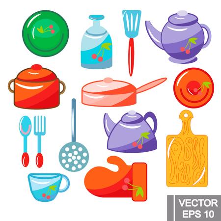 Vector kitchen set. colored illustration on white background. elements for your design. Illustration
