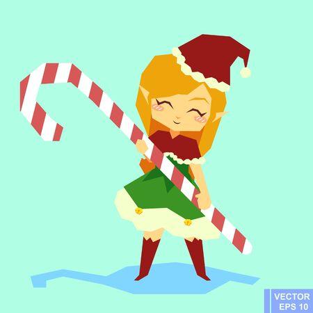 santa helper: Cute cartoon Elf girl Character - Holding Candy Cane. Elf Santa Claus Santa helper preparing for christmas. Merry x-mas eps10